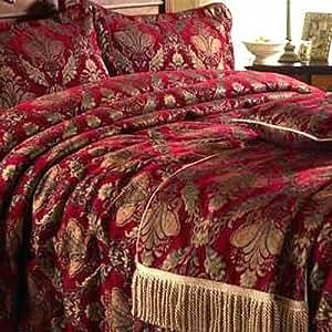 Paoletti Shiraz Comforter Bedspread, Burgundy/Gold, King