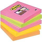 Post-it 654S-N Haftnotiz Super Sticky Notes (76 x 76 mm) 5 Blöcke à 90 Blatt neonpink, -grün, -orange, ultragelb