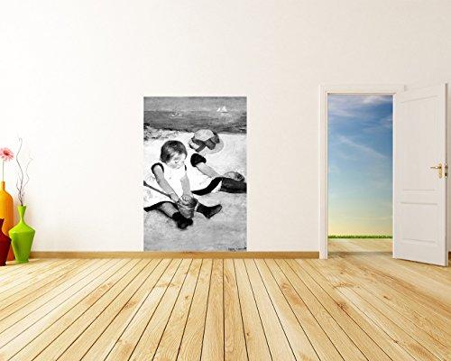 Vlies Fototapete Mary Cassatt - Alte Meister - Kinder am Strand - schwarz weiss - 120x180 cm - inklusive Kleister - Tapetenkleister – Bild auf Tapete – Bildtapete – Foto - Home-theater Boston
