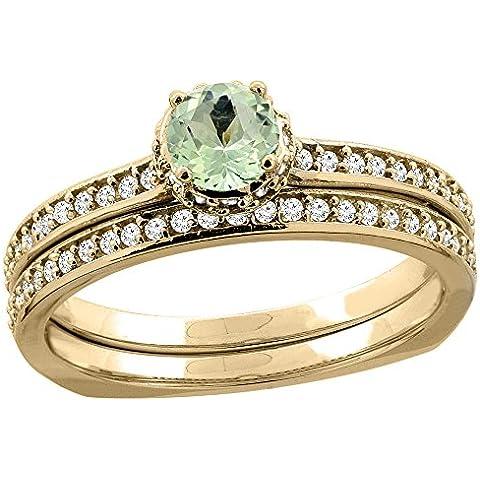 In oro giallo, 14 carati, con diamante e ametista verde, 2 pezzi, a forma di anello, 4 mm, taglie J-T