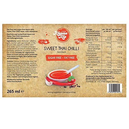 GymQueen Mamma Mia Zero Sauce | kalorienarm, ohne Fett & ohne Zucker | Zum Verfeinern von Gerichten oder als Salat-Dressing | vegetarisch, glutenfrei, laktosefrei | Sweet Thai Chilli Soße