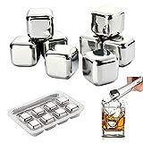Cubos de Hielo 8 pcs Whisky Stones para Enfriar Whisky, Vino y Cóctel etc, Certificado de FDA Cubos Enfriadores Original y Reutilizable