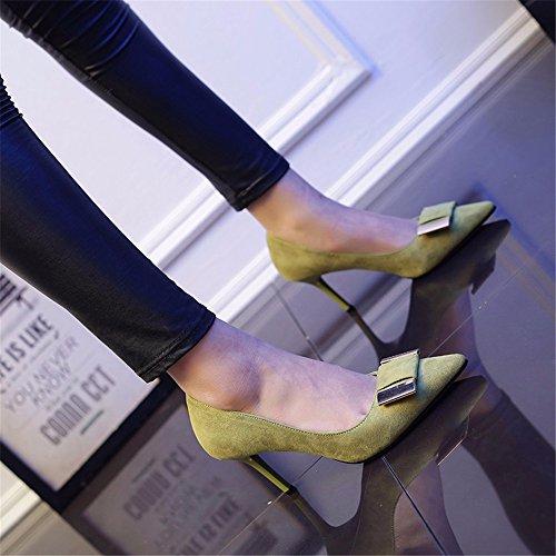 HXVU56546 Durante La Primavera E In Autunno Scarpe Con I Tacchi Alti Fine Con Bocca Poco Profonda Bow Tie Scarpe Eleganti Carriera Con Singolo Calzature Calzature Donna The green