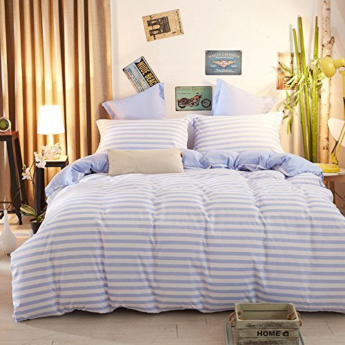 zhimian wendbar 3Stück Gestreift Print Bettbezug Set mit Reißverschluss (1Bettbezug + 2Kissenbezüge:), Ultra Weich, Mikrofaser, blau, King Size - Solide Tröster Set