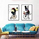 XWArtpic Kreative Fahrt Fahrrad Cartoon Nette Lustige Mode Panda Maus Fahrrad Tier Kindergarten Kinderzimmer Wohnkultur Poster leinwand malerei 90 * 120 cm