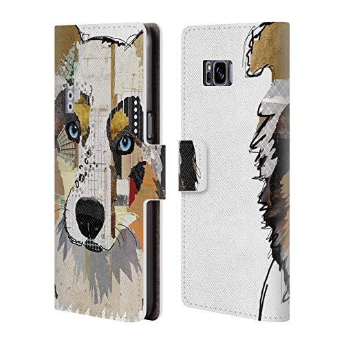 Head Case Designs Offizielle Michel Keck Australian Shepherd Hunde 3 Leder Brieftaschen Huelle kompatibel mit Samsung Galaxy S8+ / S8 Plus -