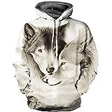 Kapuzenpullover für Jungen Unisex 3D Druck Hoodie Langarm Sweatshirt Kapuzenjacke mit Taschen(Small/Medium,Wölfe Sanft)