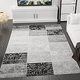 Designer Teppich Modern Kariert, Marmor Muster, Meliert in Grau Schwarz Weiss - ÖKO TEX Zertifiziert, VIMODA; Maße:80x150 cm