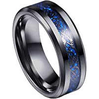 Yellow Chimes Dragon Celtic Inlay Polish Finish Titanium Steel Ring for Men & Boys