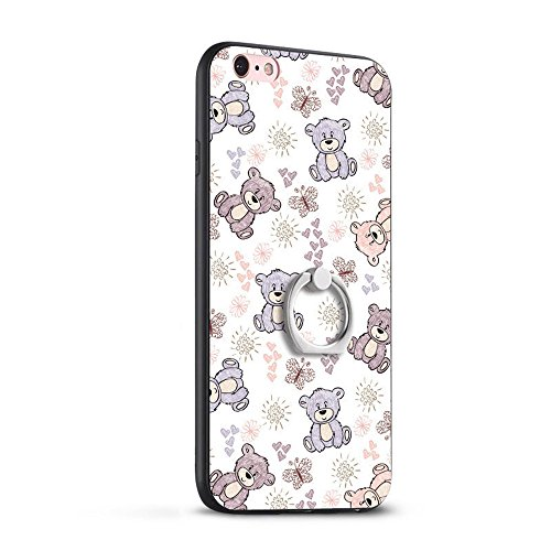 iPhone 6 Hülle,360° drehbarer Fingerhalter iphone 6/6S hülle TPU Case Silikon der Tiere Backcover Handyhülle kreatives Design Baby Bär Muster bedecken zurück für Apple iPhone 6S Case Cover (bärchen Bär Puppe)