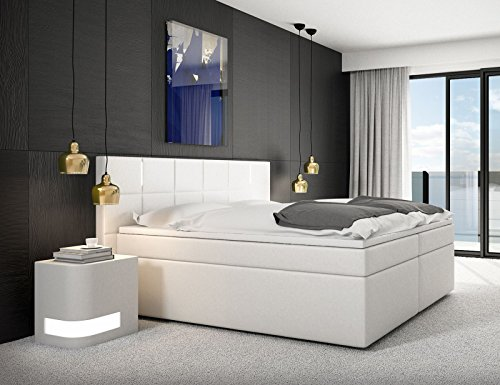 SAM® Design Boxspringbett Sapri LED mit Samolux®-Bezug in weiß, LED-Beleuchtung, H2 Taschenfederkern-Matratzen, Viscoschaum-Topper, 180 x 200 cm [521839]