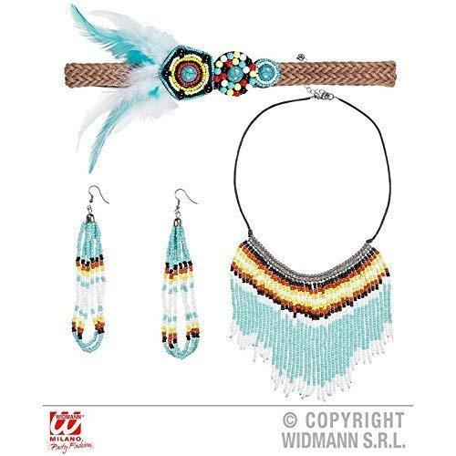 Lively Moments Indianerschmuck Haarband / Stirnband, Halskette und Ohrringe mit Kleinen Perlen / Kostüm Zubehör (Indianer Kostüm Schmuck Ohrringe)