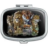 Löwe Tiger Snow Leopard Big Katzen Rechteck Pille Fall Schmuckkästchen Geschenk-Box preisvergleich bei billige-tabletten.eu