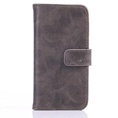 Crazy Horse Texture Faux Leather Wallet Pouch Case, Housse Horizontal Case Folio avec Kickstand et Embouts de Carte et Fermeture Magnétique Pour iPhone 5s & SE ( Color : Blue ) Gray