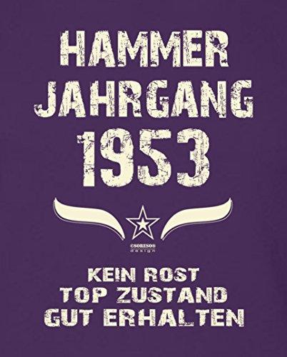 Motivshirt Fun-T-Shirt zum Männer Geburtstag Hammer Jahrgang 1953 Farbe: lila Lila
