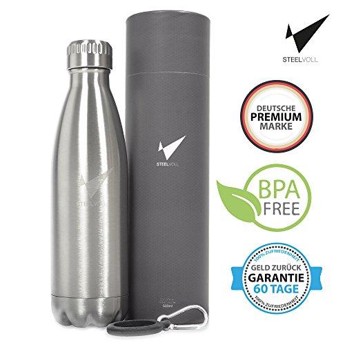 STEELVOLL - Doppelwandige Edelstahl Trinkflasche 500ml BPA-Frei (inklusive Karabiner und eBook) für den Sport, Outdoor, im Büro oder in der Freizeit mit einer Vakuum-Isolierung (24 Stunden Warm und Kalt) - Ideal auch für Kinder - 100% Zufriedenheit innerhalb von 60 Tagen, sonst Geld zurück
