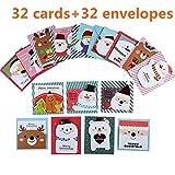 32 Pack Simpatico cartone animato Piccolo Babbo Natale pupazzo di neve Cartolina di auguri di buon Natale Cartolina Cartolina di Natale