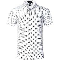 SOOPO Camiseta clásica Estampada de Hombre con Lunares en Manga Corta para Hombre, Manga Corta, Blanco, M