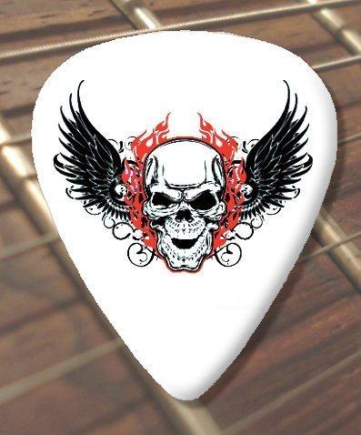10 x Tattoo Chitarra Pick Plettro Plettri Winged Skull (D6) (Schwer 1.00mm)