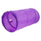 Demiawaking Dotted Pet Cat Tunnel Kitten Tunnels and Tubes Collapsible Interactive Tunnel Toy with Bell and Ball (Purple)