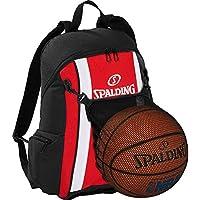 Spalding – Mochila de baloncesto Rojo/Negro con pelota de red
