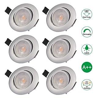 6x LED-Einbauleuchte für Badezimmer, Deckenleuchte extra flach, einstellbar, dimmbar, 5W, 3000K, 220V, Mini-LED-Einbauleuchte für Wohnzimmer Schlafzimmer Küche Schaufenster Ladenbar