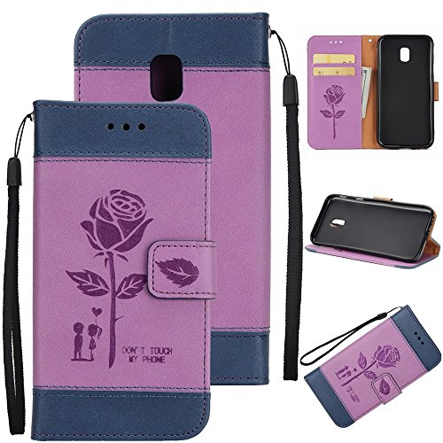 Gemischte Farben Rose Blume matt Premium PU Leder Brieftasche Stand Case Cover mit Lanyard & Card Slots für Samsung Galaxy J730 ( Color : Pink ) Purple