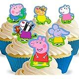 Lot de 12 silhouettes assorties avec onglet Peppa Pig Comestibles PRÉ-DÉCOUPÉES par Cakeshop