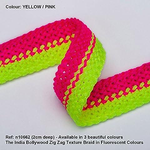 Neotrims Vibrant fluoreszierend Strukturierte Crochet weave Band trimmen Geflecht, 2cms