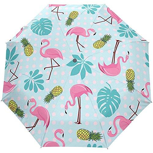 Sommer Tropische Flamingo Vögel Ananas Polka Dots Auto Öffnen Schließen Regenschirme Anti UV Folding Compact Automatic Umbrella