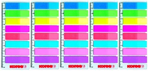 5er Sparpack Haftstreifen 12x45 8x25Bl. Neon + Lineal (5)