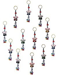 Royal Arts & Crafts Handmade Handicraft Decorative Rajasthani Lord Ganesh Designed Key Chain 4 Piece Set Multi-Colored