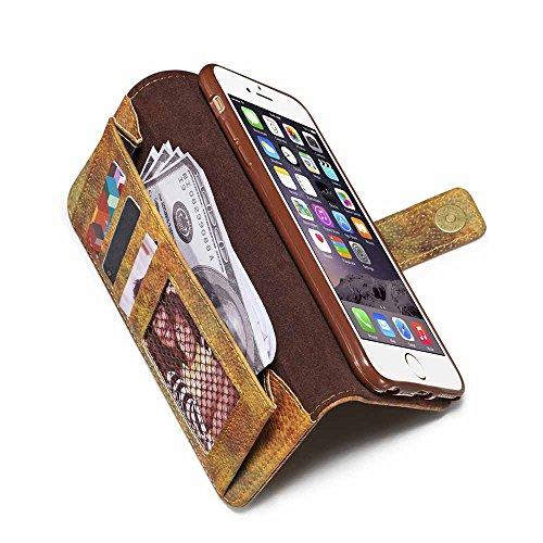 Custodia iPhone 6 / 6S [Protezione libera dello schermo], Dfly Foresta Stile PU Pelle Especially Powerful Portafoglio Funzione Design Chiusura Magnetica Flip Cover Per iPhone 6 / 6S, Grigio Giallo