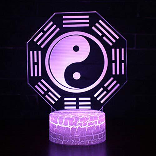 Tai Chi Acht Diagramme Thema 3D Lampe LED Nachtlicht 7 Farbwechsel Touch Stimmung Lampe Weihnachtsgeschenk