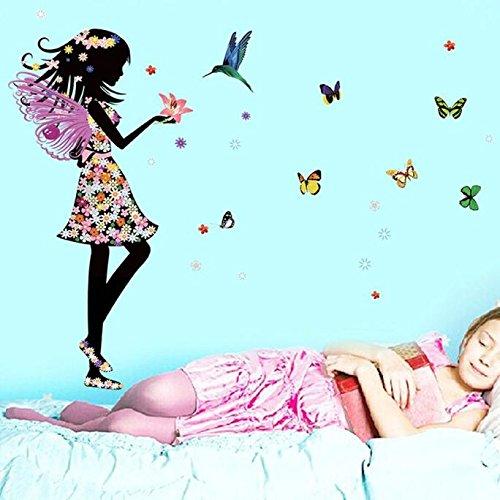 Bovake Engels-Flügel-schöne Mädchen-Blumen-Schmetterlings-DIY Wand-Aufkleber-entfernbares Haus (Blumen-mädchen-flügel)