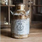 OPPP The vase Kunsthandwerk Wein Antike Graue Miniatur Metall Blume Krug Getrocknete Blumen Gefälschte Blumenvase, B