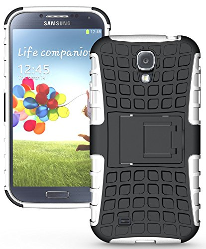 Flip Kick Stand Hard Dual Armor Hybrid Rugged Bumper Back Case Cover For Samsung Galaxy S4 I9500 - White