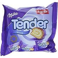 Milka Tender Milch Minis - Biskuit-Röllchen mit Milchcrèmefüllung und Vollmilchschokolade - Je 8 pro Pack - 12 x 150