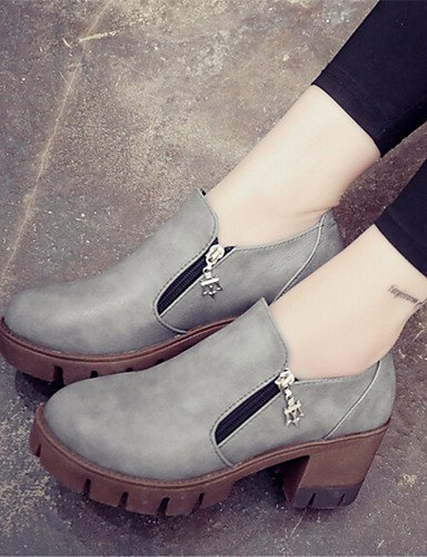 ZQ hug Scarpe Donna-Scarpe col tacco-Tempo libero / Casual-Creepers-Plateau-Finta pelle-Nero / Marrone / Grigio , gray-us8 / eu39 / uk6 / cn39 , gray-us8 / eu39 / uk6 / cn39 black-us5 / eu35 / uk3 / cn34