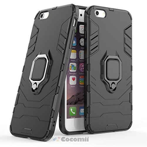 Cocomii Black Panther Armor iPhone 6S Plus/6 Plus Hülle [Strapazierfähig] Ring Ständer [Funktioniert Mit Magnetischer Autohalterung] Case Schutzhülle for Apple iPhone 6S Plus/6 Plus (B.Jet Black) (Shield Protector 6 Plus Phone I)