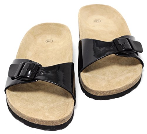 Damen Bio Clogs Pantoletten Sandale Slipper Lack SCHWARZ Gr. 38-40