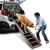 COSTWAY Hunderampe Einstiegshilfe Hundetreppe Autorampe Ausziehbar, Tiertreppe 166 x 43cm, Hundeleiter Belastbar bis 100kg