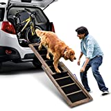 COSTWAY Pet Ramp, Telescopic Dog Ramp, 98cm-166cm, Non-slip, Portable Wooden Pets Step Stairs Ladder, Perfect for Dogs In and Out of the Car - 100 KG Capacity