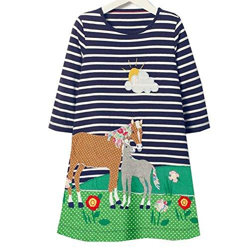 VIKITA Mädchen Baumwolle Langarm Streifen Tiere T-shirt Kleid JM7627 (Für Kinder Kleid Tier)