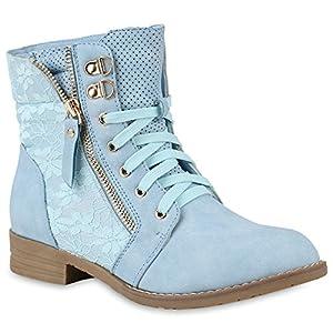 Stiefel Damen Hellblau