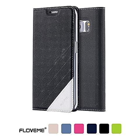 Coque Samsung Galaxy S6 Edge FLOVEME Housse en Cuir PU Prémium [Béquille] Étui avec Carte Slots et Fermeture Magnétique pour Samsung Galaxy S6 Edge - Noir