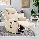 HOMCOM Massagesessel Relaxsessel mit Wärmefunktion Fernsehsessel Sessel Creme - 2