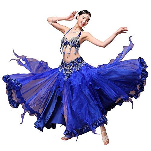 Frau Bauch Tanzen Performance Kostüm Handmade Diamant Perlen Quaste Pailletten Modern BH Bund Welle Rock Blue S