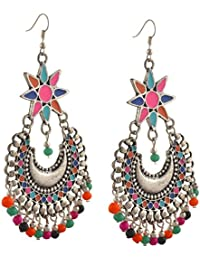 Zephyrr Fashion German Silver Afghani Floral Dangler Hook Chandbali Earrings For Girls And Women