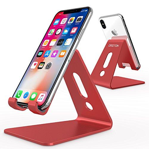 OMOTON Support Téléphone Portable, Stand/Support De Bureau Pour E-readers, iPhone7 5S 6S,7 Plus, Huawei, Samsung A3 A5 S7 S8 Note 8 , Nintendo Switch En Aluminium - Rouge